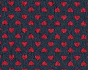 211468 navy blue Robert Kaufman mini red heart fabric Sevenberry Classiques