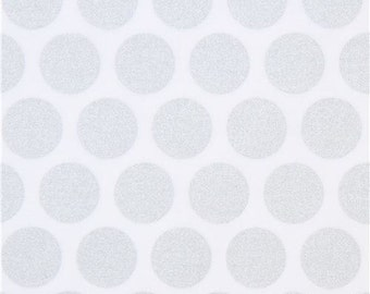 213234 white Robert Kaufman silver metallic dot fabric Spot On Studio RK