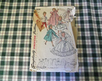 Vintage Simplicity Pattern 1808 Doll Size 21'  For Revlon and Cissy Dolls