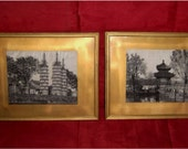 RESERVED CHERIE 02-11-17 Antique Silk Tapestry Chinese Architecture Pagoda Black White Glass Asian in Frame