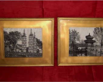 Antique Silk Art Chinese Architecture Pagoda Black White Glass Asian in Frame