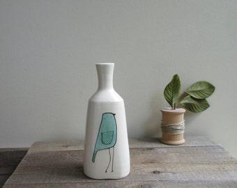 Turquoise blue bird vase, small bird flower vase, ceramic spring flower garden vase