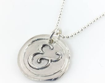 Ampersand Wax Seal Inspired Necklace - handmade, fine silver