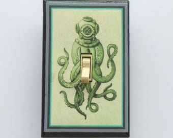 Octopus and Nautical switchplates & MATCHING SCREWS- Octopus Kraken giant squid steampunk octopus nautical ocean tall ships sea sea animals