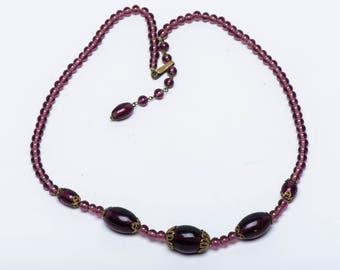 Vintage Glass Bead Necklace - Japan - Purple