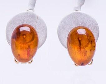 Vintage Genuine Amber - Gold Clip Earrings
