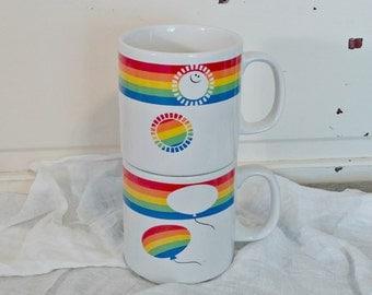 Vintage Coffee Cups | Rainbow Coffee Mugs