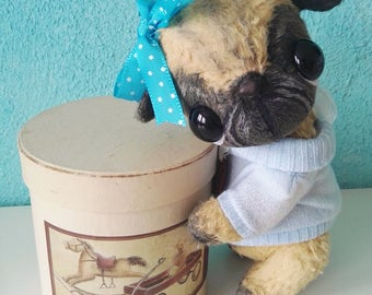 Artist bear pug available immediately by Sylvie Touzard