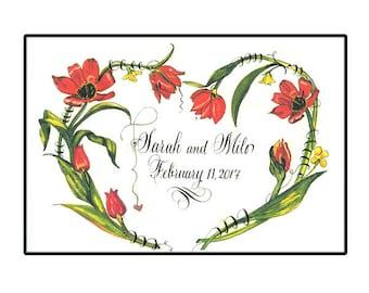 Personalized Wedding Gift 5x7,Custom calligraphy, Tulip Heart