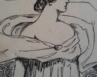 Vintage Antique Original Signed Ink Drawing