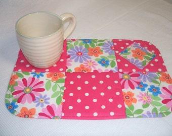 Pink Floral and Polka Dot Fabric Mug Rug, Snack Mat, Candle Mat, Placemat, Trivet