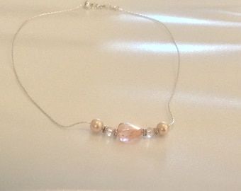 Soft Peach Rose crystals and pearls silver necklace