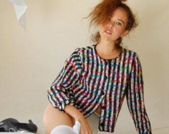 sale 25% off Indie Crop Sweater Vintage 80s Black and White Crop Slouchy Indie Hipster Crop Sweater Cardigan (m l)