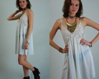 sale 25% rainy days sale Sheer Lace Slip Vintage 90s Sheer Cream Lace Baby Doll Lingerie Teddy Mini Dress (s m)