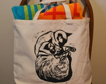 Siamese Sleeping Tote Bag, Cat bag, Cat lover gift, Siamese cat, Canvas Bag, Handprinted bag, Linocut, Cat Lady Gift