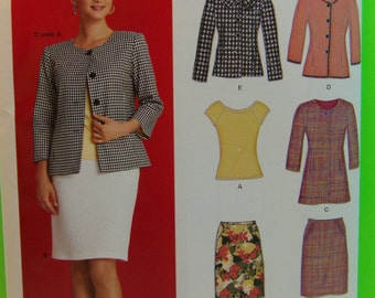 2009 New Look Pattern 6878 Misses Skirt, Top, Blazer Size 8-18