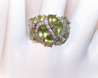 Vintage STERLING SILVER, Peridot & Diamond Fashion Ring!