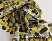 Hand Painted Silk Scarf - Handpainted Scarves Crepe Tie Dye Black Yellow Gray Grey White Bumblebee Bumble Bee