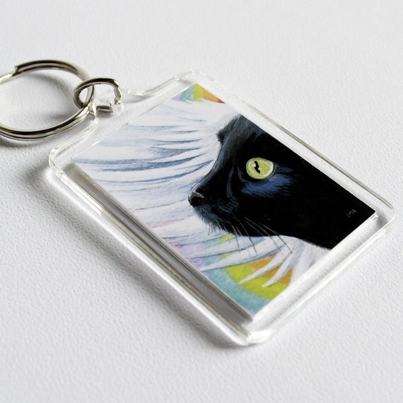 Black Cat Angel Rainbow Bridge Keyring (large) | Pet Art Illustration by Lisa Marie Robinson