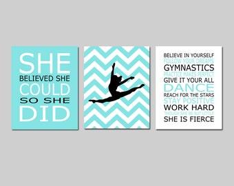 Dance Art Gymnastics Art Girl Bedroom Art Dance Inspirational Quote, She Believed She Could, Chevron Dancer - Set of 3 - CHOOSE YOUR COLORS