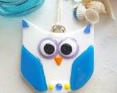 Glass and Driftwood Owl Suncatcher