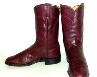 Vintage Women Justin Cowboy Boots size 6.5 B Wine leather Ropers Cowgirl Boho Hippie
