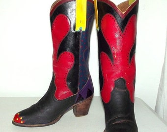 Altered Western fashion boots - Handpainted funky design - colorful - polka dots
