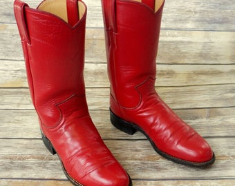 Red Ropers Cowboy Boots Womens Girls Justin Boho Western Size 4.5 B Kids Country Western