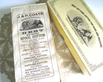 Vintage Six Cord Cotton Thread For Hand and Machine J&P Coats Crochet Spool Cotton