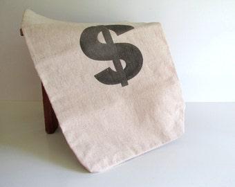 Canvas Money Bag Extra Heavy Vintage Money Sack Black Money Symbol
