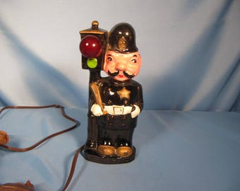 ANTIQUE NIGHT LIGHT English Police Officer,Japan Ceramic English Stop Light with Police officer standing, electric Night light with red bulb