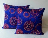 Cobalt blue pillow cover  with orange and red retro circle embroidery , decorative pillow, throw pillow, accent pillow, royal pillow 12 inch