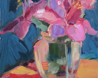 Hibiscus - pink hibiscus impressionism - glass vase pink - thick paint - expressive - small floral - colorful floral painting - orange pink