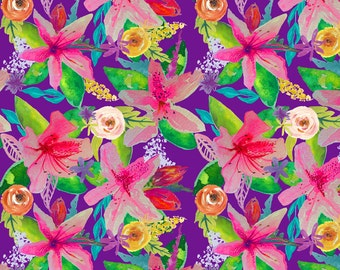 Neon Azeleas Fabric - Neon Azeleas // Purple By Theartwerks - Tropical Floral Cotton Fabric By The Yard With Spoonflower