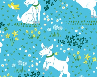 Happy Baby Goat Fabric - Tiptoe Through The Tulips - Blue By Pinky Wittingslow - Goats on Blue Cotton Fabric By The Yard With Spoonflower