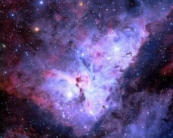 Carina Nebula Fabric - Carina Nebula (Edited, Blue) By Azizakadyri - Purple Galaxy Cotton Fabric By The Yard With Spoonflower