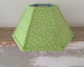 "Lime Linen Hurricane Lamp Shade, Funky Dot Lampshade, 5""t x 12""b x 7"" high, Fits over Glass Chimney, Hard to find Susan Sargent Fabric!"