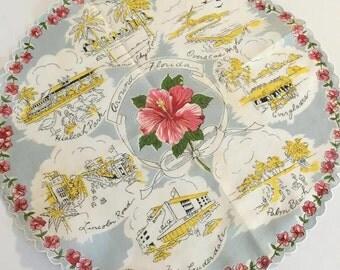 Vintage Florida handkerchief hankie round 1950s Miami Fort Lauderdale souvenir original tag