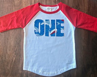 Shark Boys Birthday Raglan Shirt, toddler first birthday shirt one tee shark jaws shirt nautical fish theme party red white blue tshirt