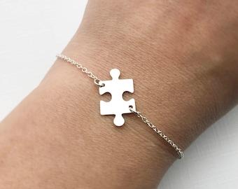 Puzzle Piece Bracelet - Sterling Silver Adjustable Jigsaw Bracelet, Autism Awareness Bracelet