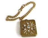 Rhinestone Snowflake Music Box Charm Bracelet Vintage Signed Japan