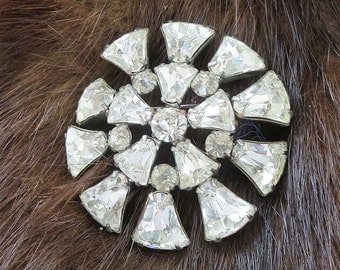 Art Deco Clear Rhinestone Brooch Vintage