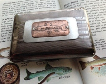 Trout Fish Etched Wallet / Cigarette Case in Pinstripe Pattern