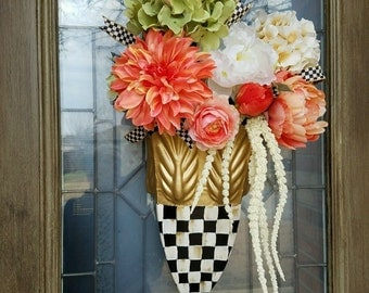 MacKenzie Child courtly check ribbon on my custom spring bouquet
