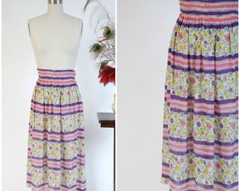 Vintage 1940s Skirt - Springy Semi Sheer Skirt with Wide Waist in Chatreuse, Purple, Pink and Teal