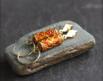 ON SALE Orange Boho Earrings - Rust Orange Cloisonne, Gold Brass Diamond Dangle, Geometric Tribal Boho Jewellery
