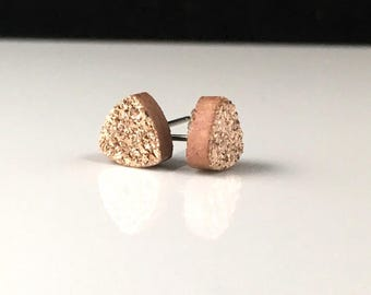 Rose Gold Copper 8mm Triangle Druzy Drusy Post Stud Earrings with Hypoallergenic Nickel Free Titanium Posts