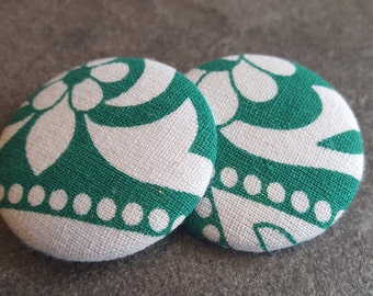 Green and white earrings, Button earrings, Fabric button earrings, White and green earrings, Fabric earrings, Womens gifts, Sister gifts