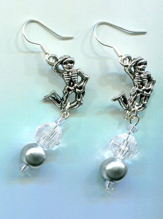 dancing skeleton earrings day of the dead skull jewelry pearl bead drop goth biker handmade jewellery