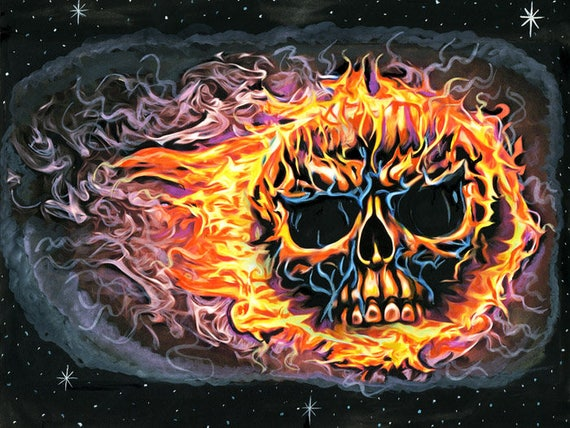 flaming skull original art painting Macabre watercolors goth flames skeleton art SKULL FIRE punk biker horror art Elizavella
